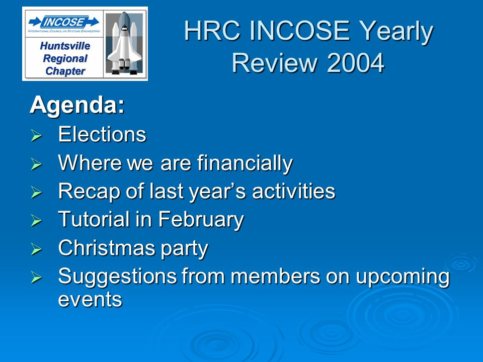 HRC INCOSE Yearly Review 2004 Agenda: Elections Elections Where we are financially Where we are financially Recap of last years activities Recap of la