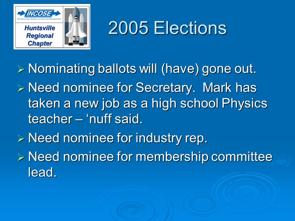 2005 Elections Nominating ballots will (have) gone out. Nominating ballots will (have) gone out. Need nominee for Secretary. Mark has taken a new job