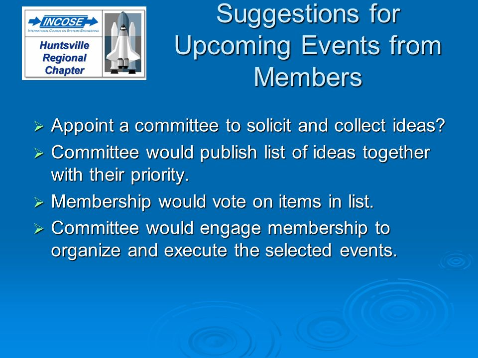 Suggestions for Upcoming Events from Members Appoint a committee to solicit and collect ideas? Appoint a committee to solicit and collect ideas? Commi