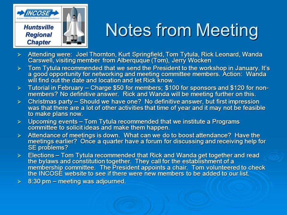 Notes from Meeting Attending were: Joel Thornton, Kurt Springfield, Tom Tytula, Rick Leonard, Wanda Carswell, visiting member from Alberquque (Tom), J