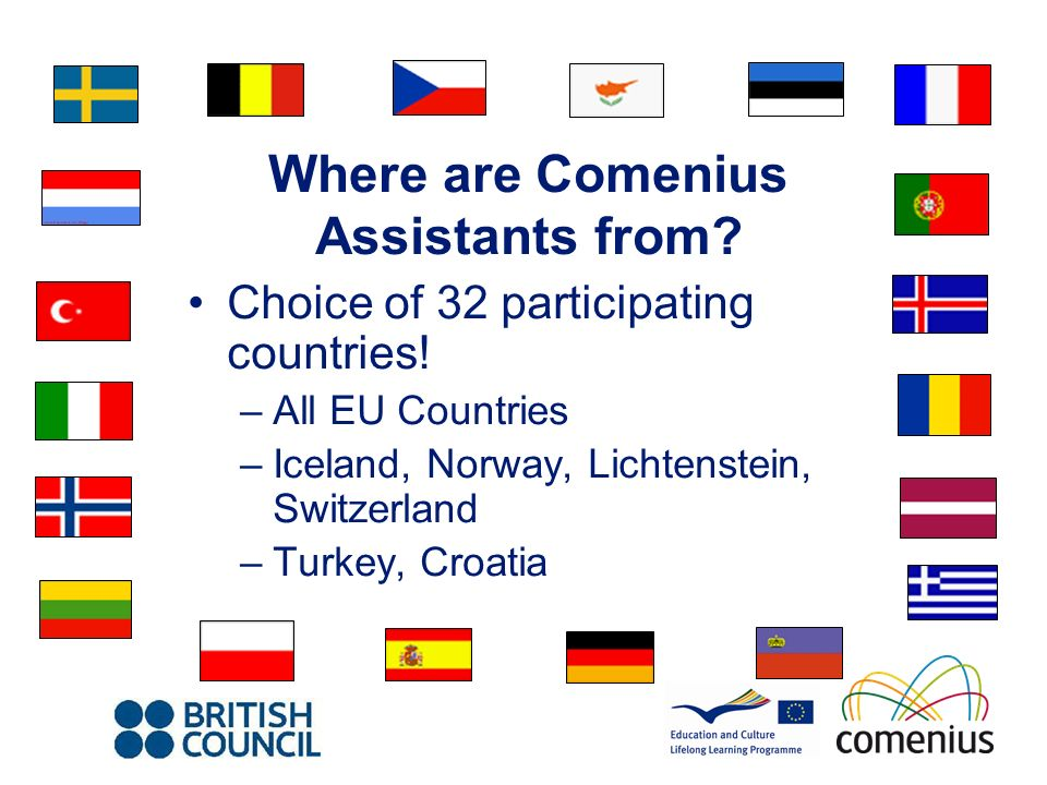 Where are Comenius Assistants from. Choice of 32 participating countries.