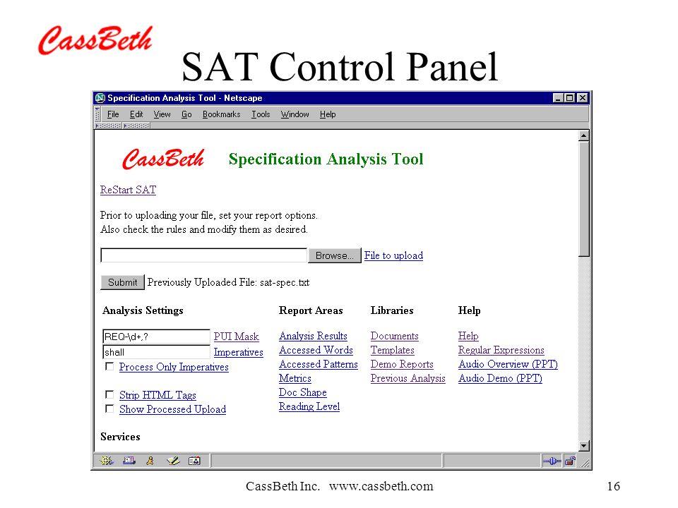 CassBeth Inc. www.cassbeth.com16 SAT Control Panel
