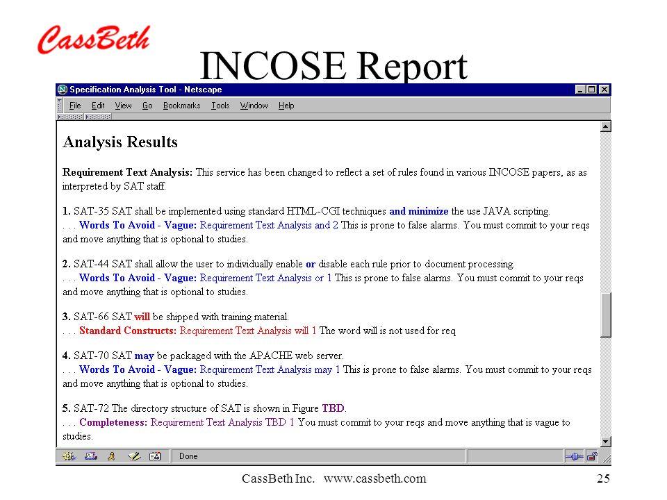 CassBeth Inc. www.cassbeth.com25 INCOSE Report