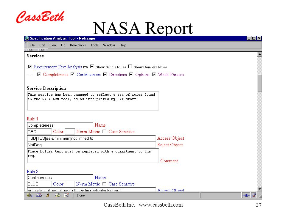 CassBeth Inc.   NASA Report