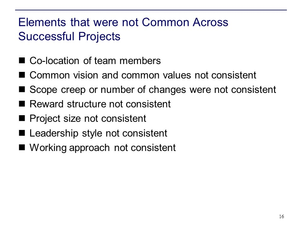 Elements that were not Common Across Successful Projects Co-location of team members Common vision and common values not consistent Scope creep or num