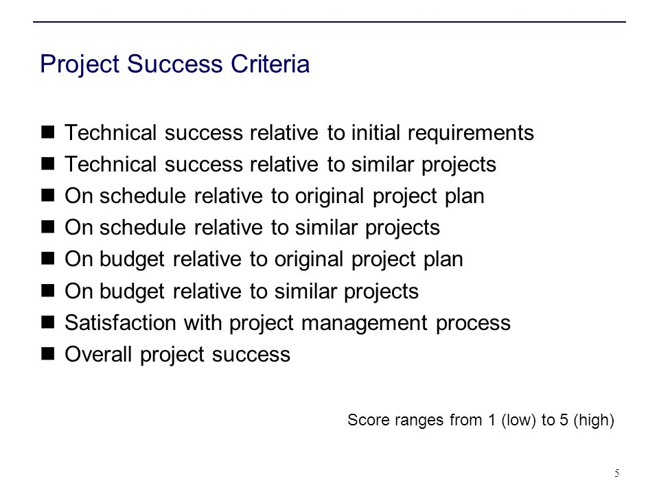 Project Success Criteria Technical success relative to initial requirements Technical success relative to similar projects On schedule relative to ori