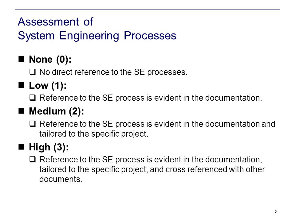 Assessment of System Engineering Processes None (0): No direct reference to the SE processes.