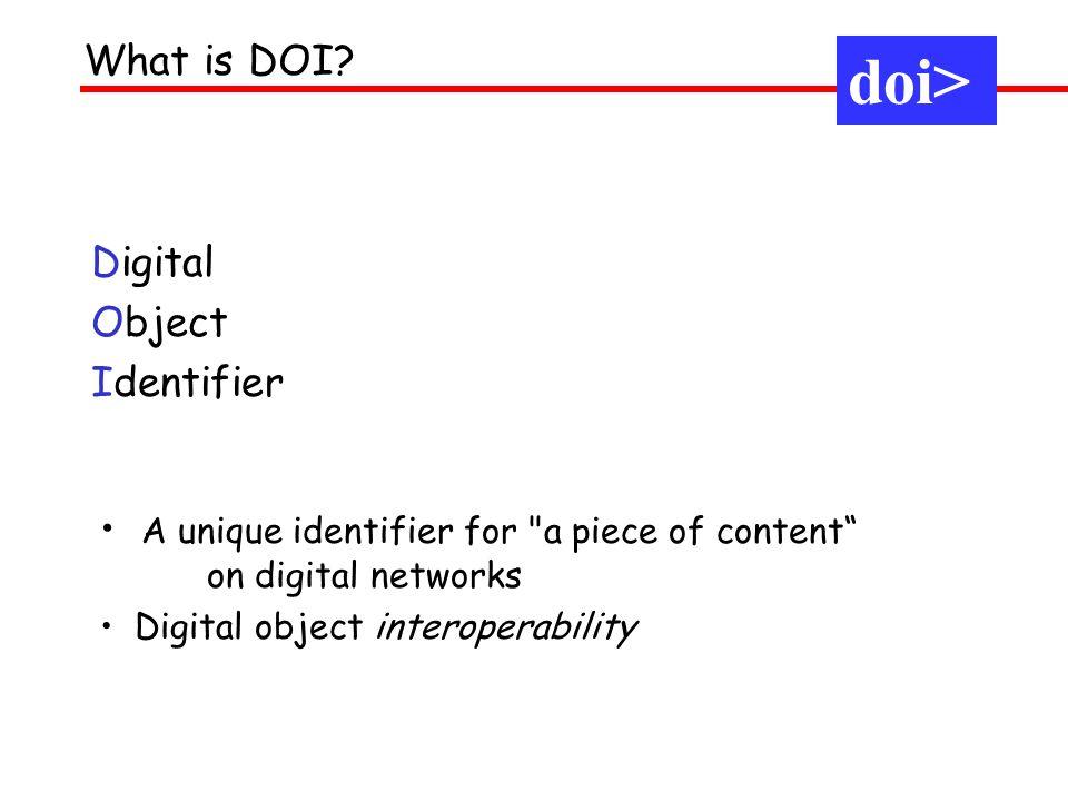 Digital Object Identifier What is DOI? A unique identifier for