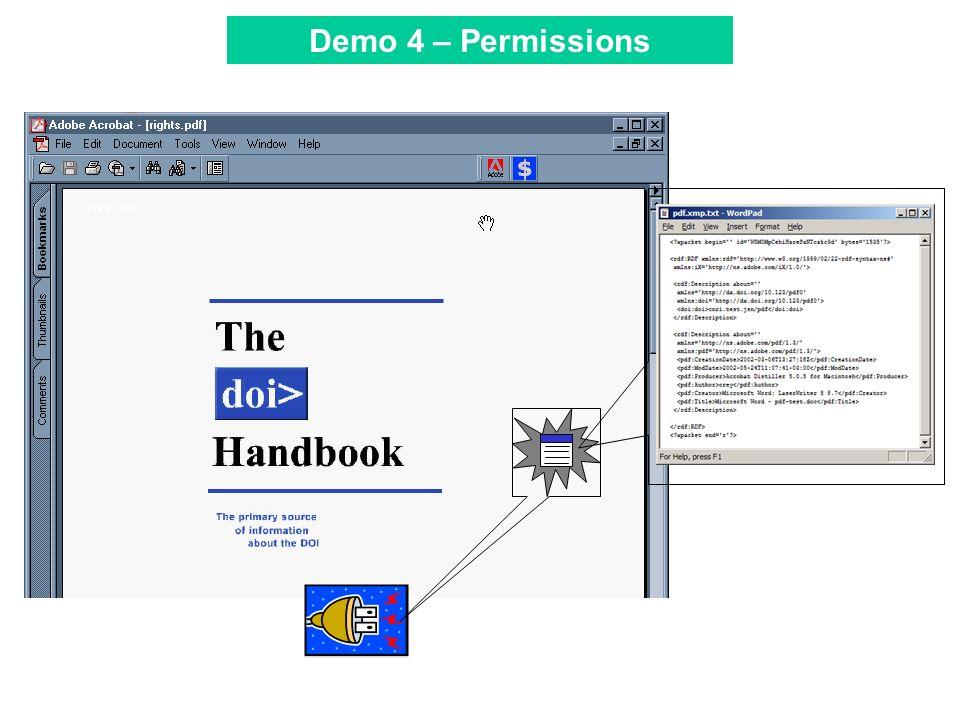 Tool Bar Demo 4 – Permissions