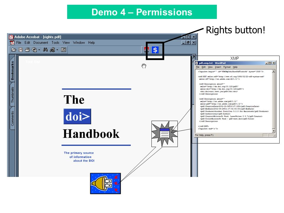 Tool Bar XMP Rights button! Demo 4 – Permissions