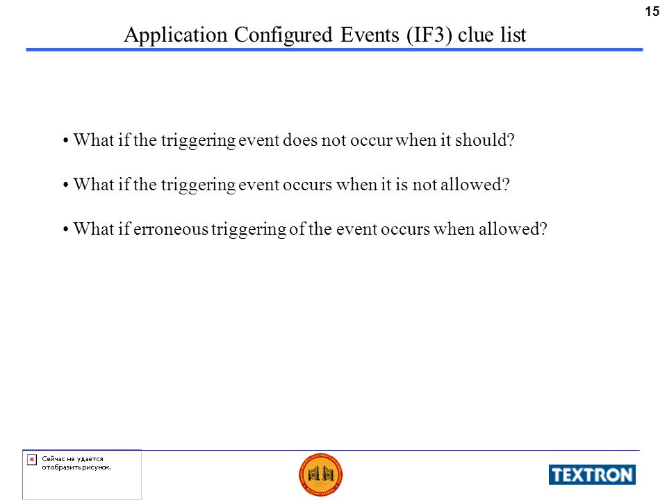 15 Application Configured Events (IF3) clue list What if the triggering event does not occur when it should? What if the triggering event occurs when