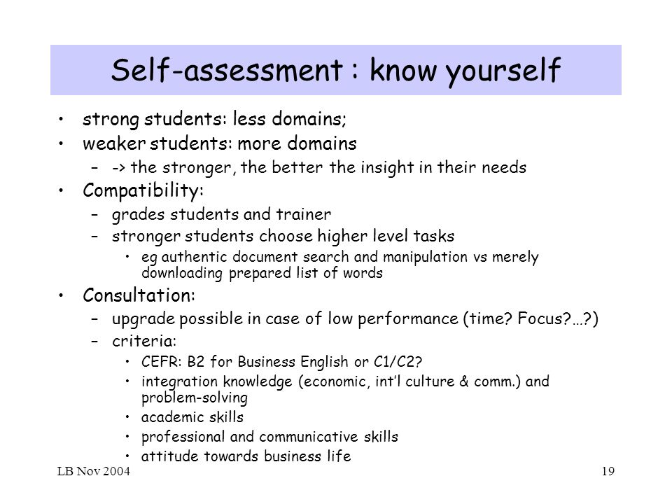 LB Nov 200419 Self-assessment : know yourself strong students: less domains; weaker students: more domains –-> the stronger, the better the insight in