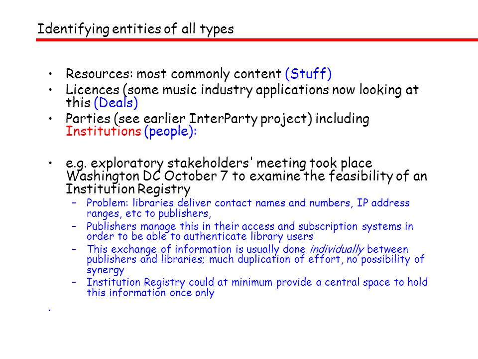 Identifying entities of all types Resources: most commonly content (Stuff) Licences (some music industry applications now looking at this (Deals) Parties (see earlier InterParty project) including Institutions (people): e.g.