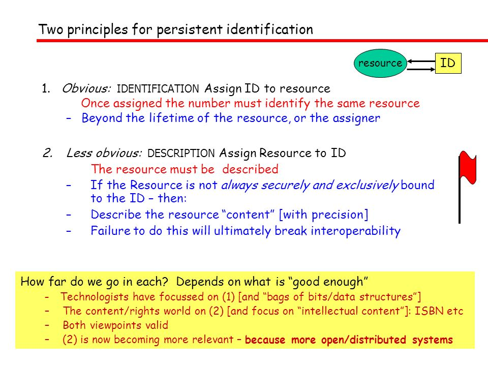 1. Obvious: IDENTIFICATION Assign ID to resource Once assigned the number must identify the same resource –Beyond the lifetime of the resource, or the