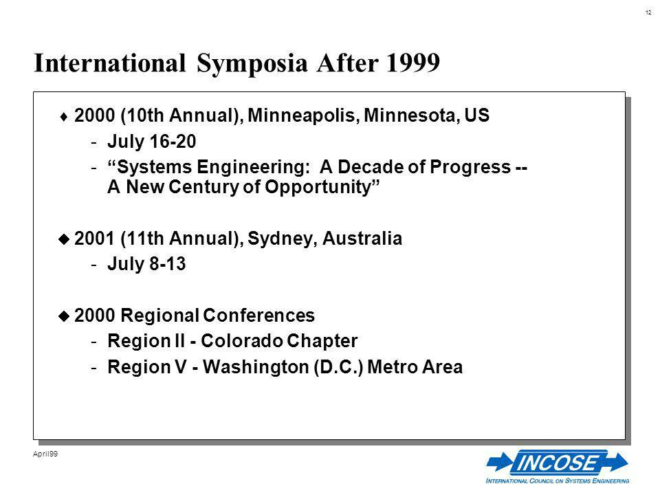 12 April99 International Symposia After 1999 2000 (10th Annual), Minneapolis, Minnesota, US -July 16-20 -Systems Engineering: A Decade of Progress -- A New Century of Opportunity 2001 (11th Annual), Sydney, Australia -July 8-13 2000 Regional Conferences -Region II - Colorado Chapter -Region V - Washington (D.C.) Metro Area