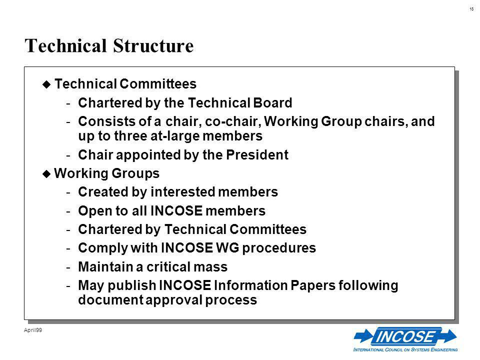 18 April99 Technical Structure Technical Committees -Chartered by the Technical Board -Consists of a chair, co-chair, Working Group chairs, and up to three at-large members -Chair appointed by the President Working Groups -Created by interested members -Open to all INCOSE members -Chartered by Technical Committees -Comply with INCOSE WG procedures -Maintain a critical mass -May publish INCOSE Information Papers following document approval process