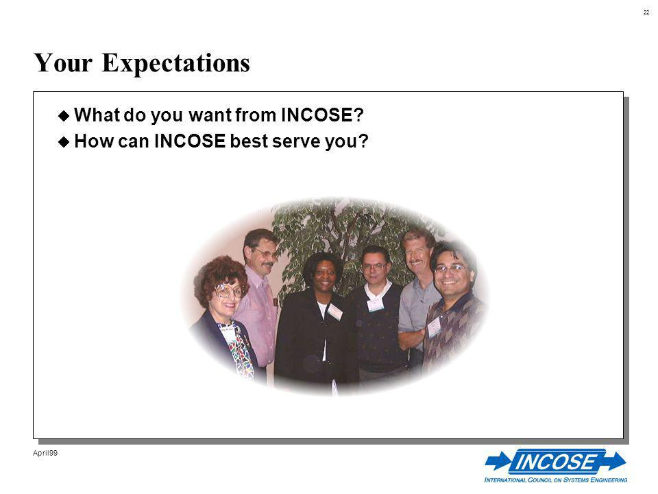 22 April99 Your Expectations What do you want from INCOSE How can INCOSE best serve you