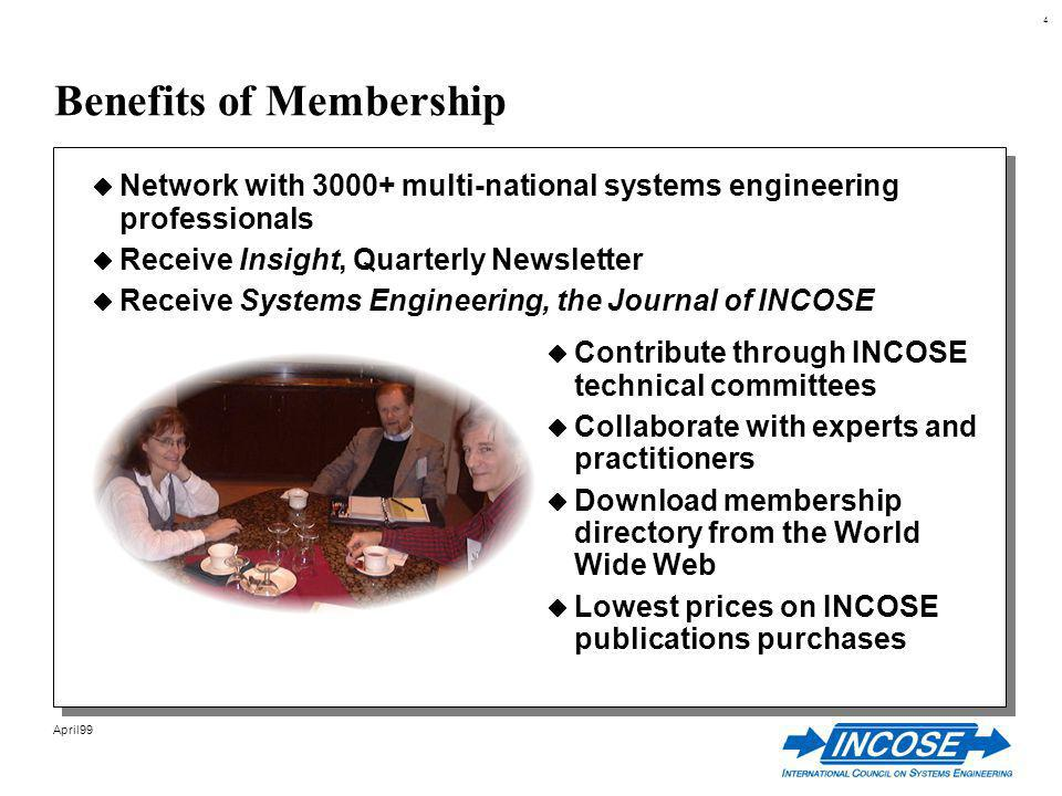 4 April99 Benefits of Membership Network with multi-national systems engineering professionals Receive Insight, Quarterly Newsletter Receive Systems Engineering, the Journal of INCOSE Contribute through INCOSE technical committees Collaborate with experts and practitioners Download membership directory from the World Wide Web Lowest prices on INCOSE publications purchases