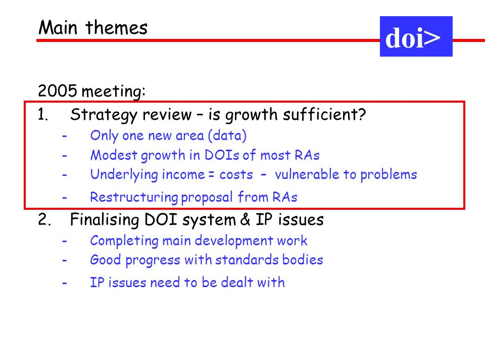 2005 meeting: 1.Strategy review – is growth sufficient? -Only one new area (data) -Modest growth in DOIs of most RAs -Underlying income = costs – vuln