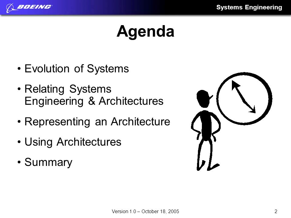 Systems Engineering 2Version 1.0 – October 18, 2005 Agenda Evolution of Systems Relating Systems Engineering & Architectures Representing an Architect