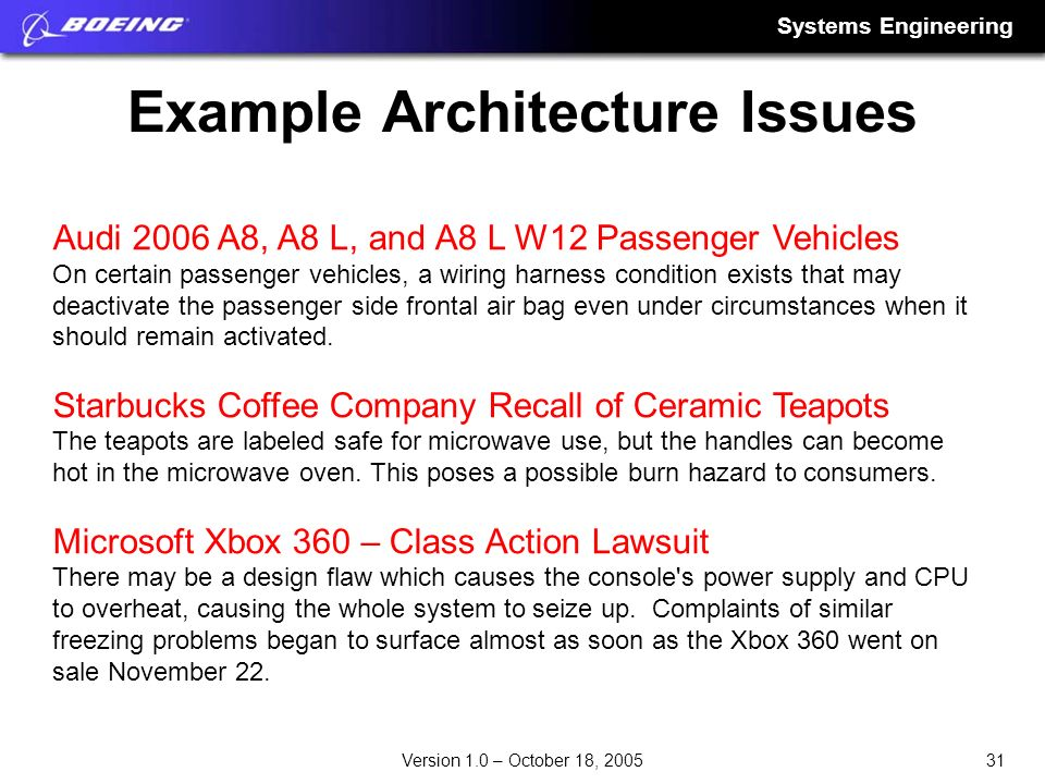Systems Engineering 31Version 1.0 – October 18, 2005 Example Architecture Issues Audi 2006 A8, A8 L, and A8 L W12 Passenger Vehicles On certain passen