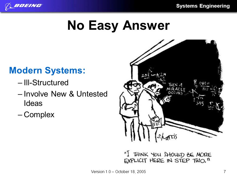 Systems Engineering 7Version 1.0 – October 18, 2005 No Easy Answer Modern Systems: –Ill-Structured –Involve New & Untested Ideas –Complex