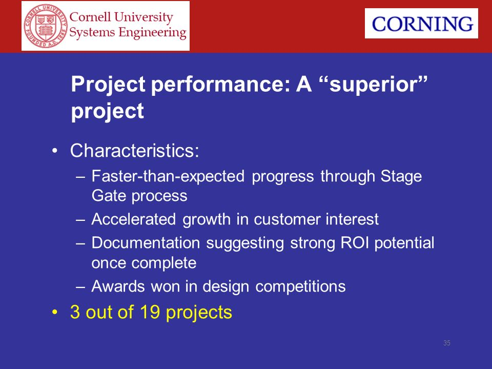 35 Project performance: A superior project Characteristics: –Faster-than-expected progress through Stage Gate process –Accelerated growth in customer