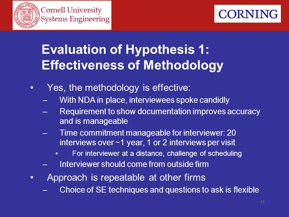 Evaluation of Hypothesis 1: Effectiveness of Methodology Yes, the methodology is effective: –With NDA in place, interviewees spoke candidly –Requireme