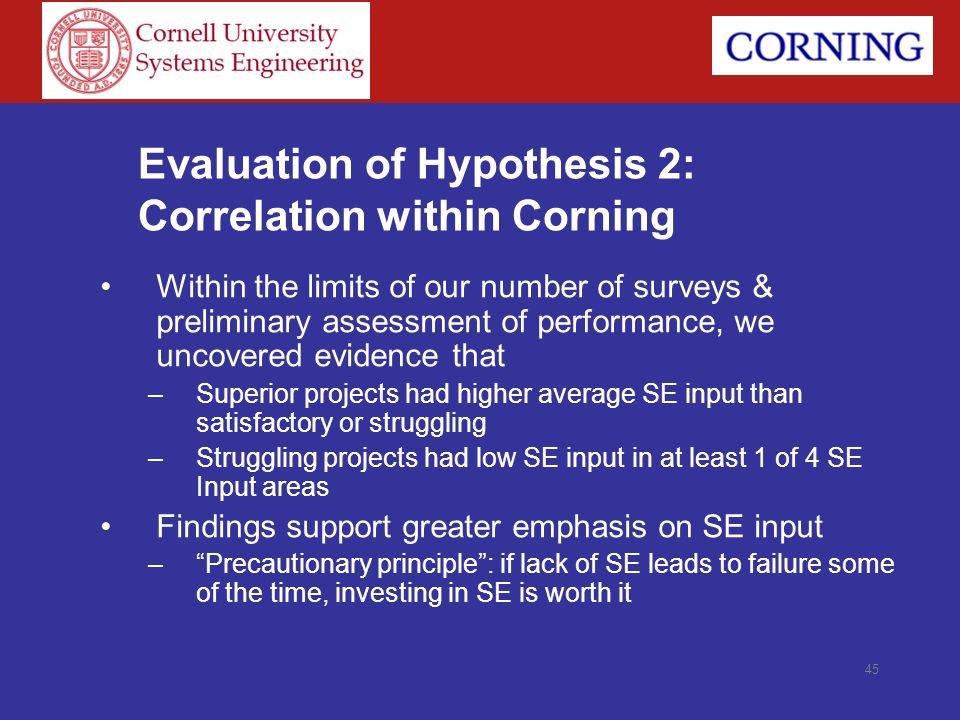45 Evaluation of Hypothesis 2: Correlation within Corning Within the limits of our number of surveys & preliminary assessment of performance, we uncov