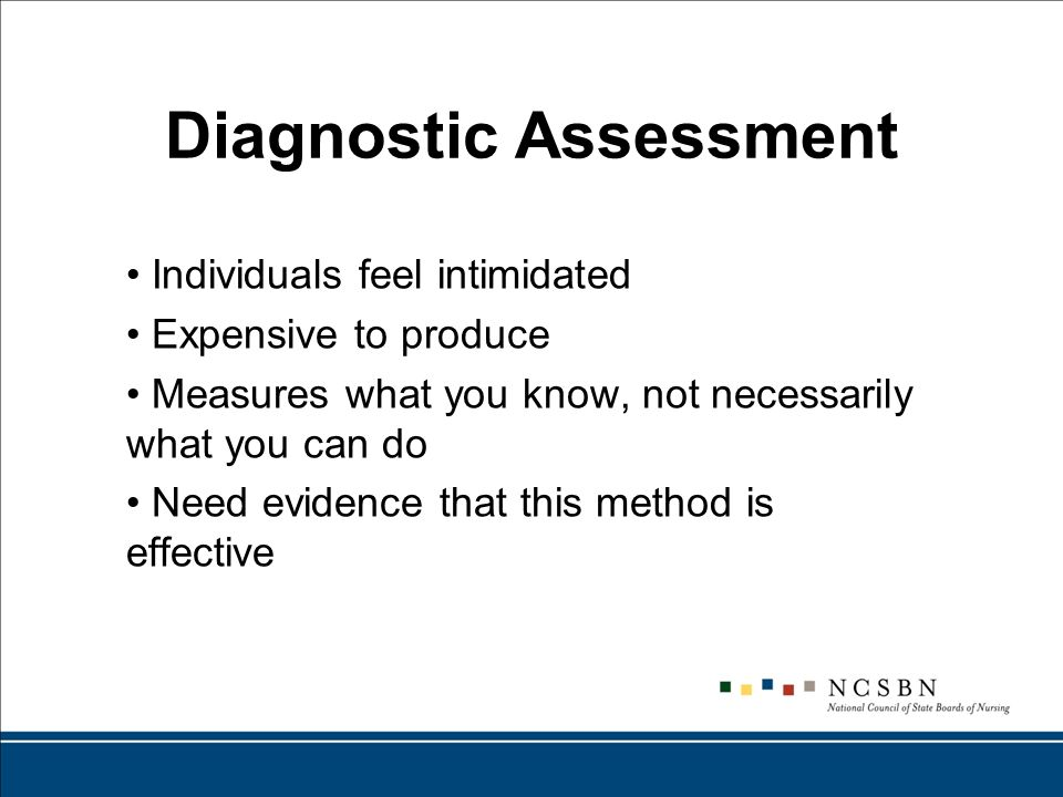 Diagnostic Assessment Individuals feel intimidated Expensive to produce Measures what you know, not necessarily what you can do Need evidence that this method is effective