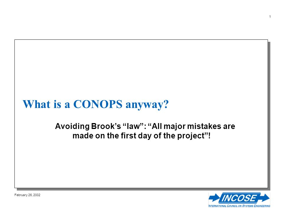 February 26, 2002 1 What is a CONOPS anyway.