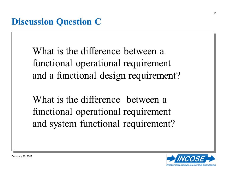 February 26, 2002 18 Discussion Question C What is the difference between a functional operational requirement and a functional design requirement.
