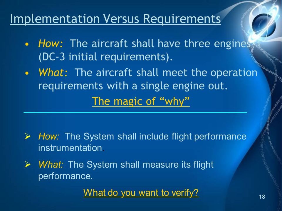 18 How: The aircraft shall have three engines (DC-3 initial requirements).
