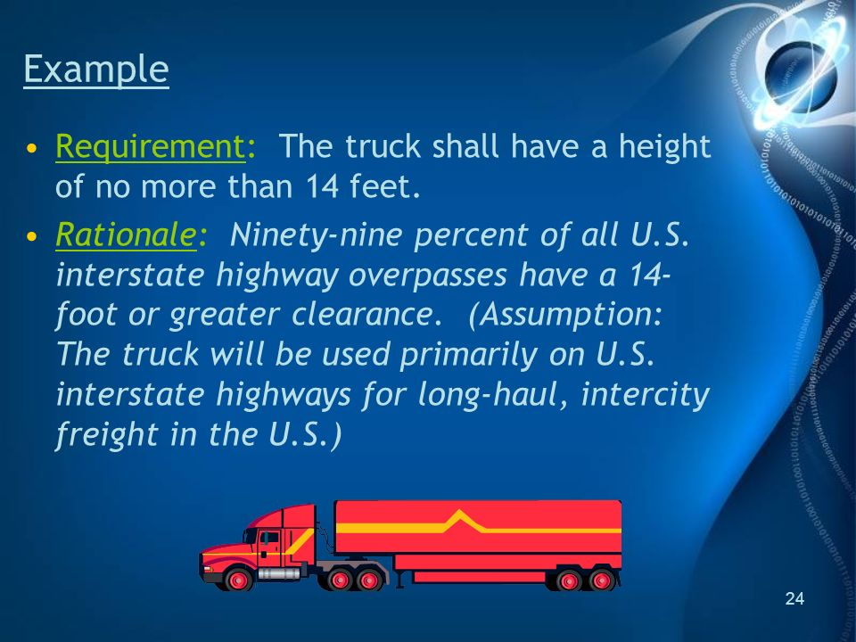 24 Example Requirement: The truck shall have a height of no more than 14 feet.