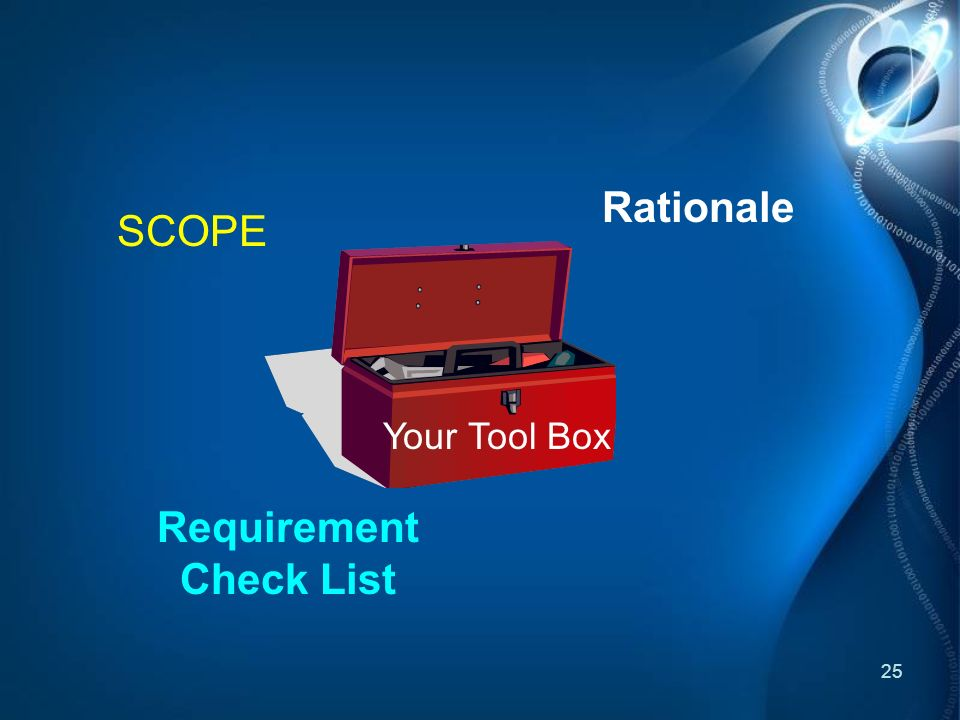 25 SCOPE Requirement Check List Rationale Your Tool Box