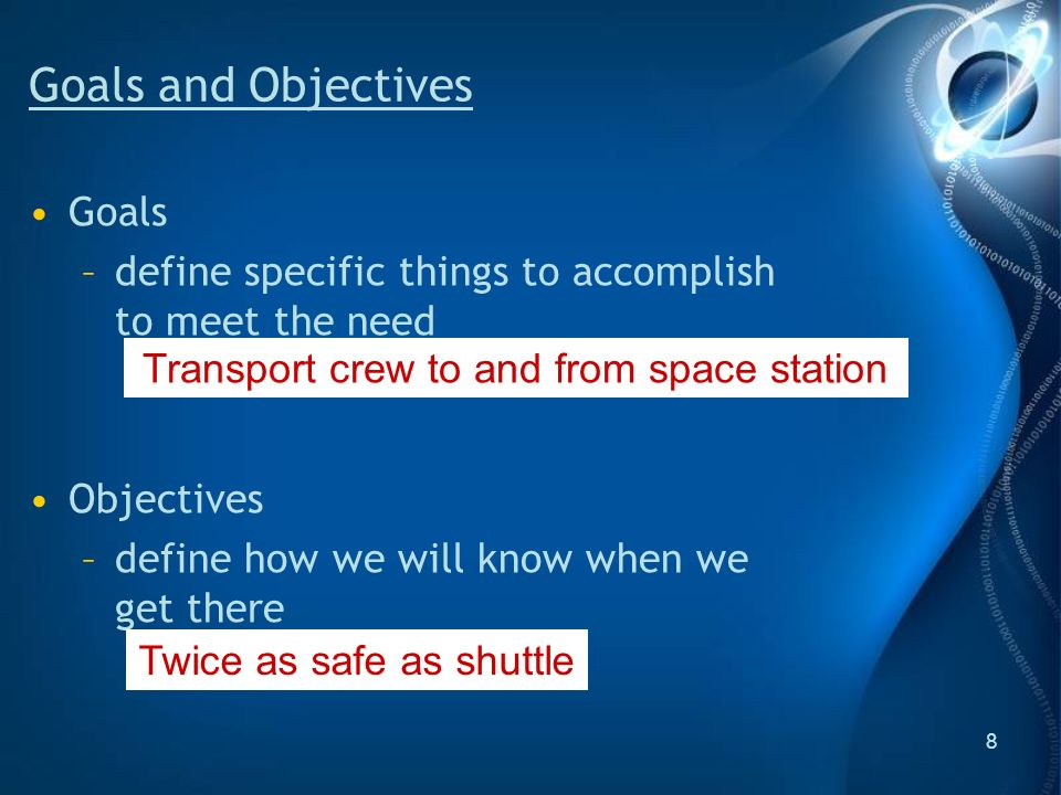 8 Goals and Objectives Goals –define specific things to accomplish to meet the need Objectives –define how we will know when we get there Transport crew to and from space station Twice as safe as shuttle