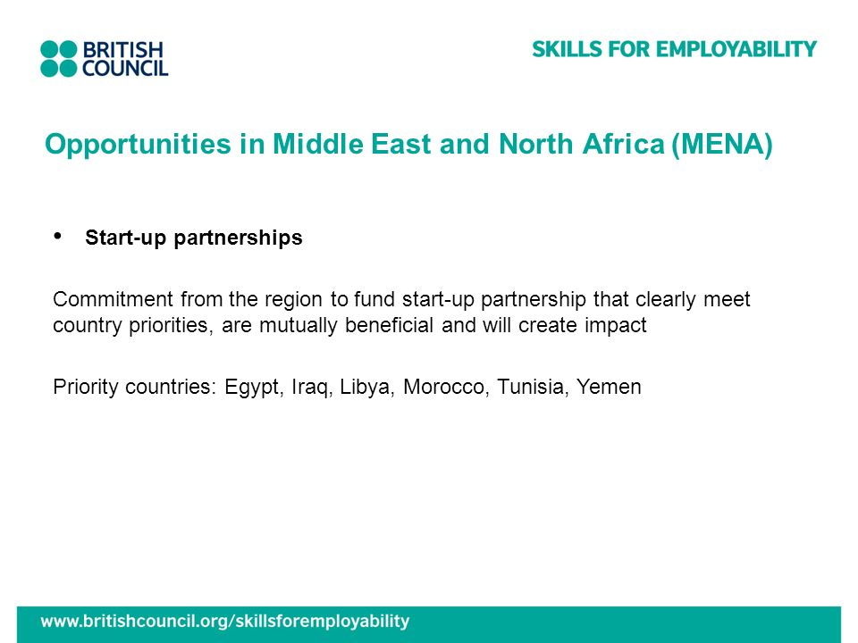 Start-up partnerships Commitment from the region to fund start-up partnership that clearly meet country priorities, are mutually beneficial and will c