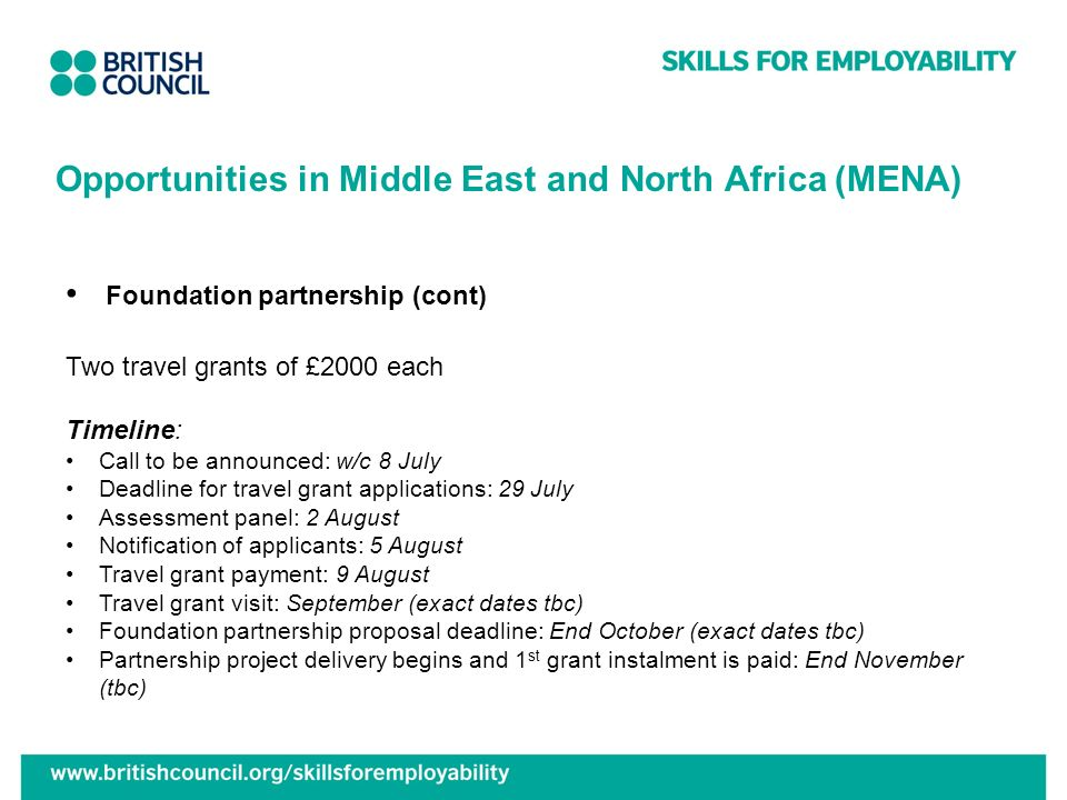 Opportunities in Middle East and North Africa (MENA) Foundation partnership (cont) Two travel grants of £2000 each Timeline: Call to be announced: w/c