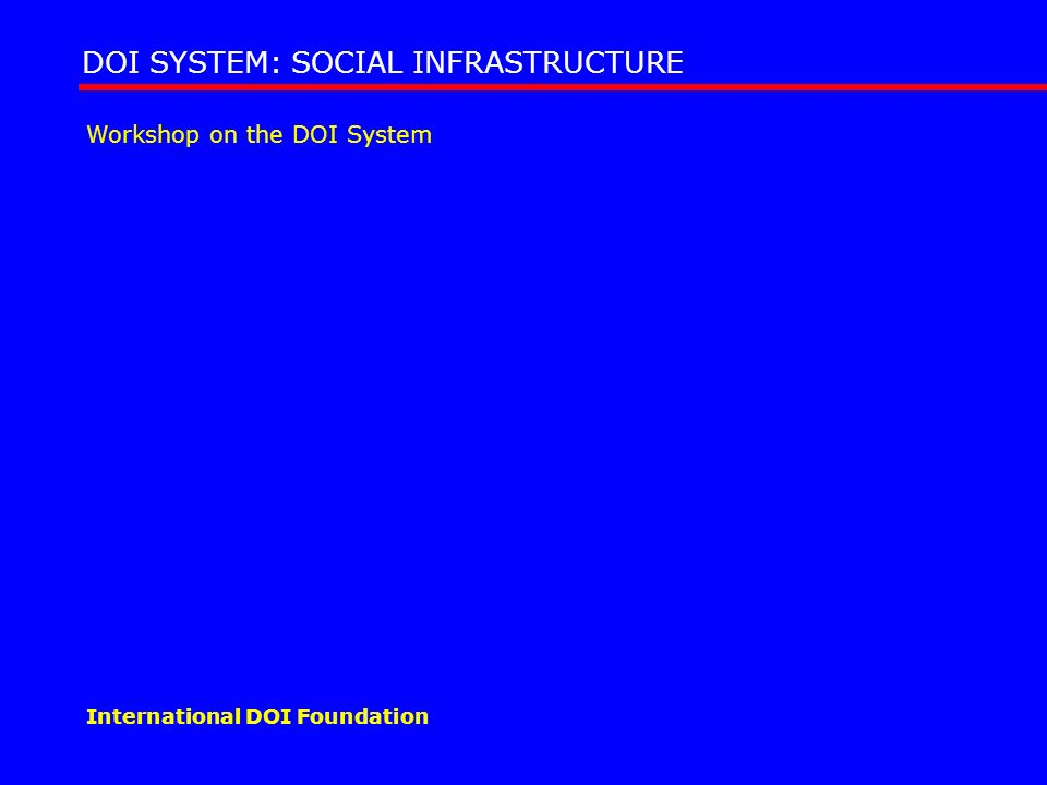 Workshop on the DOI System DOI SYSTEM: SOCIAL INFRASTRUCTURE International DOI Foundation