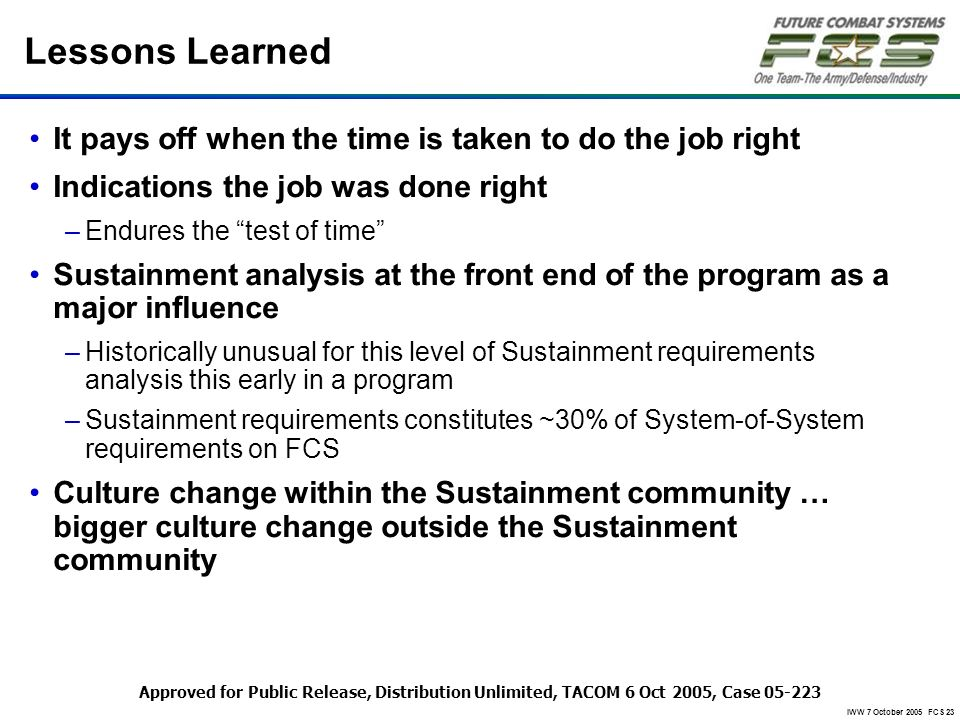 IWW 7 October 2005 FCS 23 Lessons Learned It pays off when the time is taken to do the job right Indications the job was done right –Endures the test