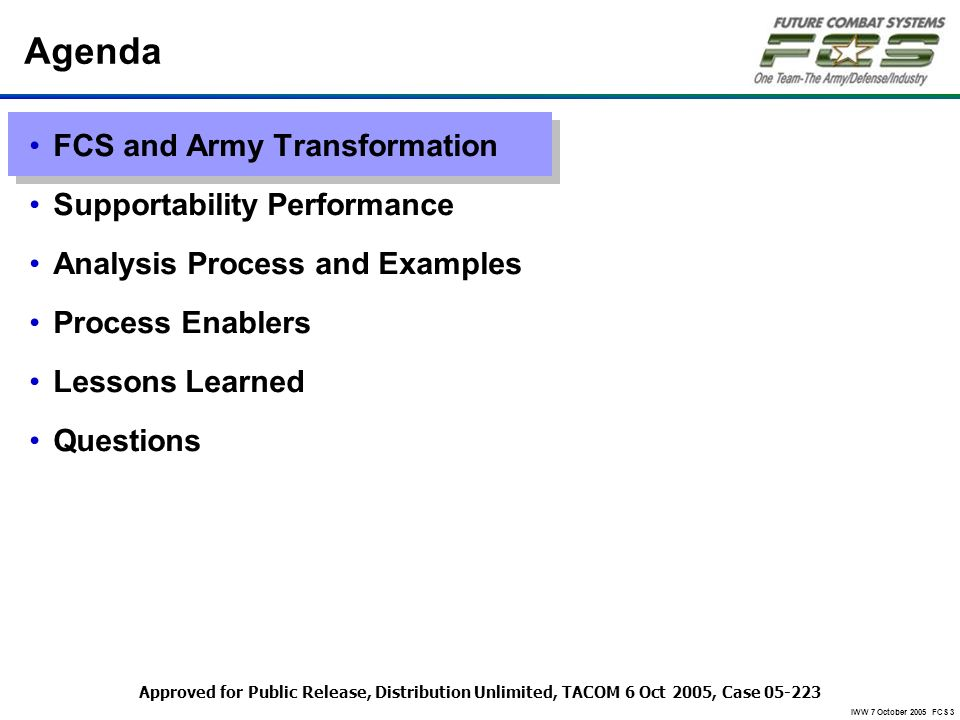 IWW 7 October 2005 FCS 3 Agenda FCS and Army Transformation Supportability Performance Analysis Process and Examples Process Enablers Lessons Learned