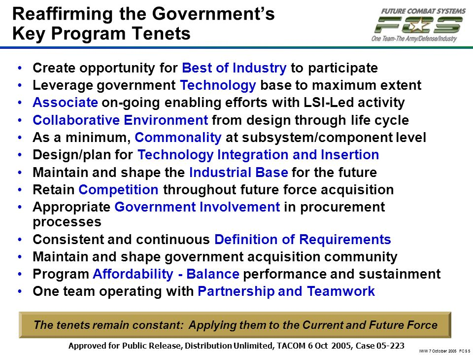 IWW 7 October 2005 FCS 5 Create opportunity for Best of Industry to participate Leverage government Technology base to maximum extent Associate on-goi