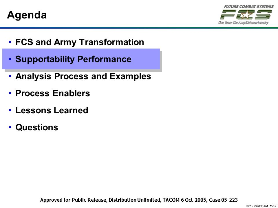 IWW 7 October 2005 FCS 7 Agenda FCS and Army Transformation Supportability Performance Analysis Process and Examples Process Enablers Lessons Learned