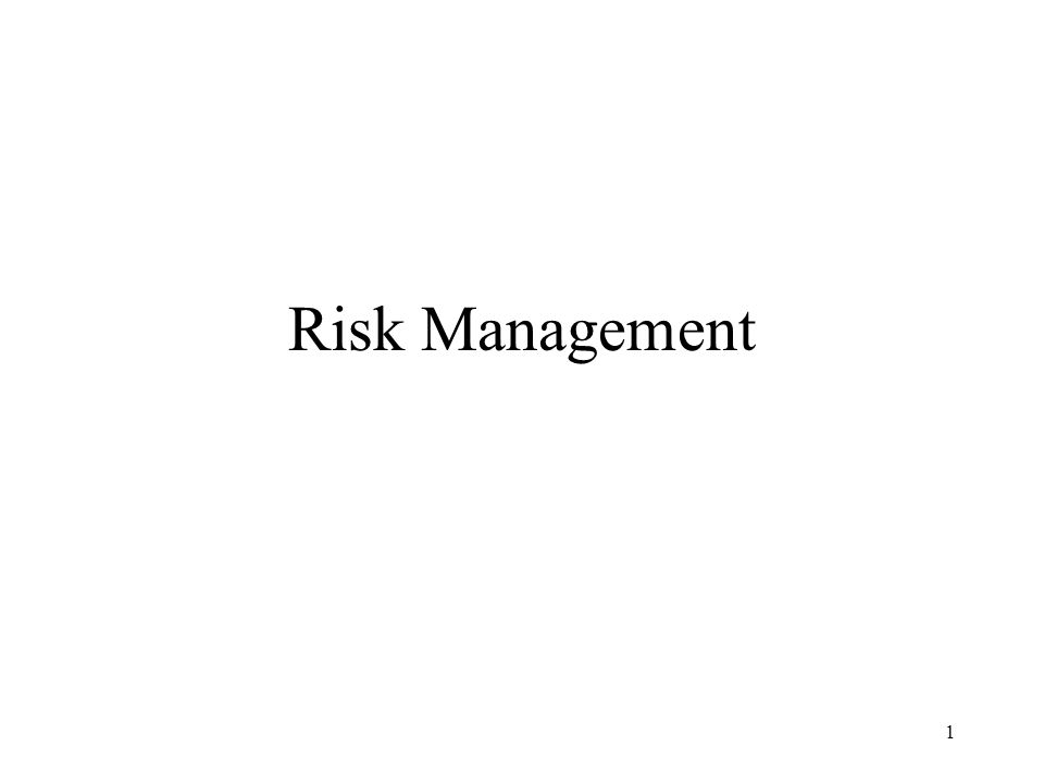 1 Risk Management