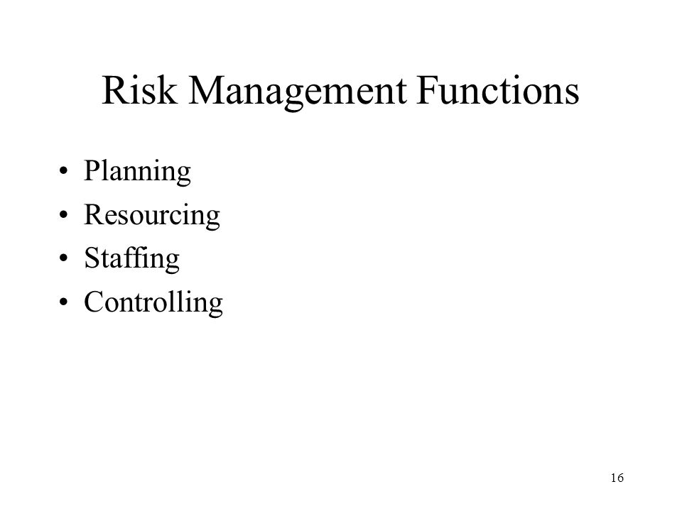 16 Risk Management Functions Planning Resourcing Staffing Controlling