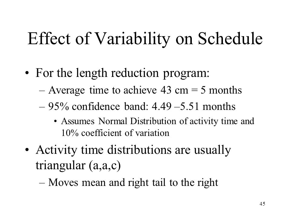 45 Effect of Variability on Schedule For the length reduction program: –Average time to achieve 43 cm = 5 months –95% confidence band: 4.49 –5.51 mont
