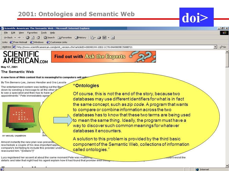2001: Ontologies and Semantic Web Ontologies Of course, this is not the end of the story, because two databases may use different identifiers for what is in fact the same concept, such as zip code.