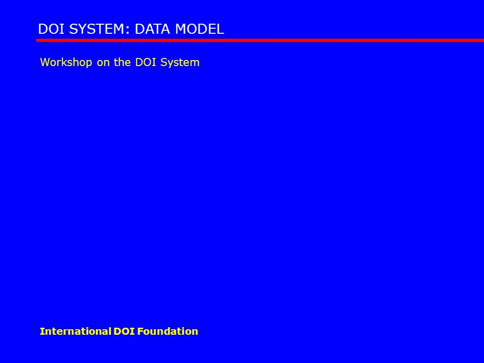Workshop on the DOI System DOI SYSTEM: DATA MODEL International DOI Foundation