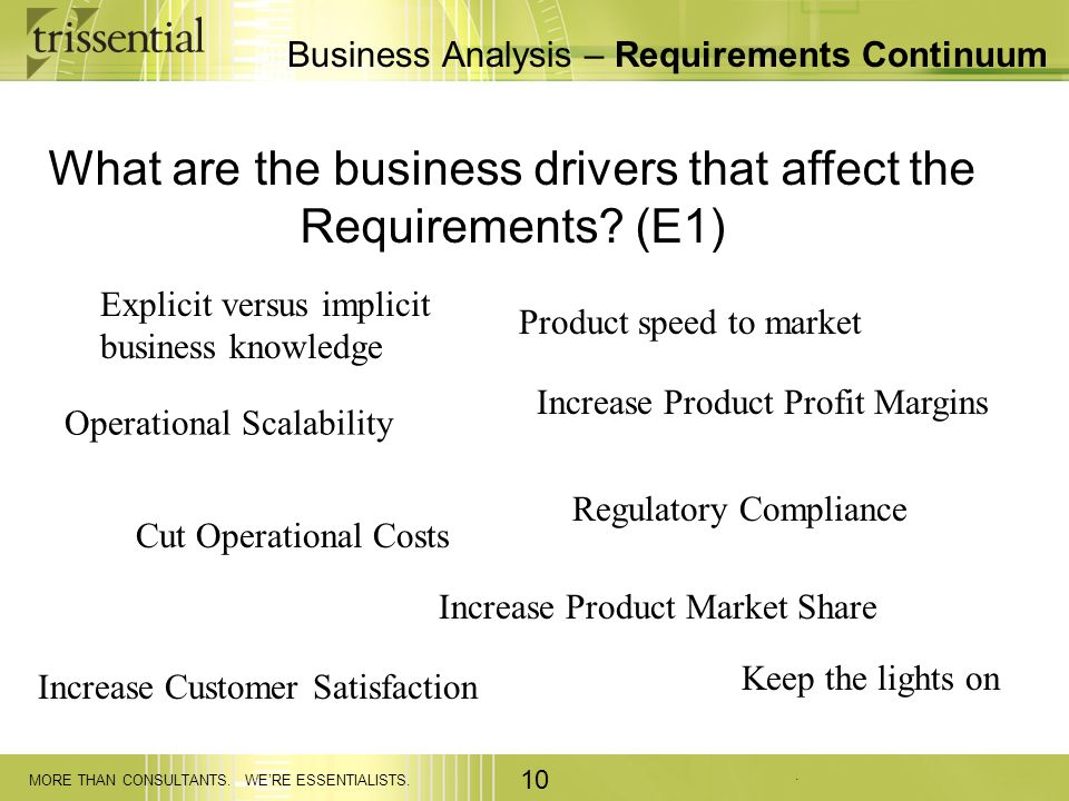 . MORE THAN CONSULTANTS. WERE ESSENTIALISTS. 10 Business Analysis – Requirements Continuum What are the business drivers that affect the Requirements?