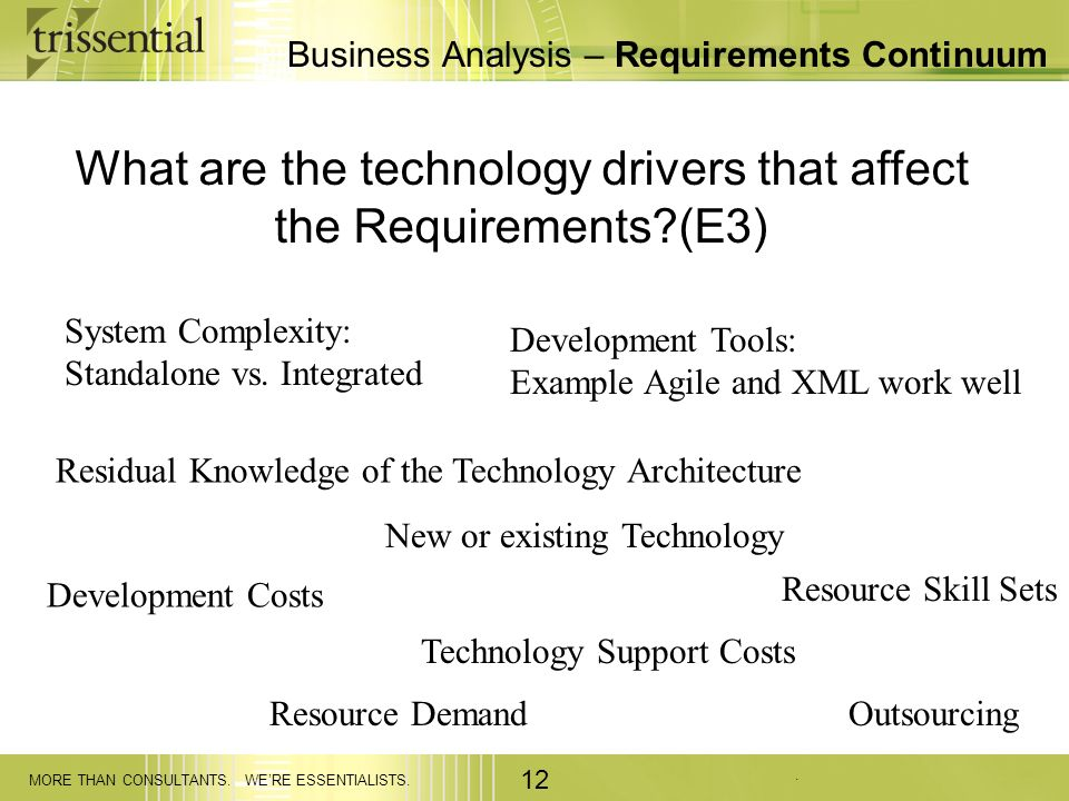 . MORE THAN CONSULTANTS. WERE ESSENTIALISTS. 12 Business Analysis – Requirements Continuum What are the technology drivers that affect the Requirement